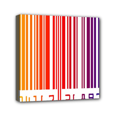 Colorful Gradient Barcode Mini Canvas 6  X 6  (stretched)