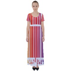 Colorful Gradient Barcode High Waist Short Sleeve Maxi Dress