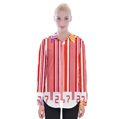 Colorful Gradient Barcode Womens Long Sleeve Shirt
