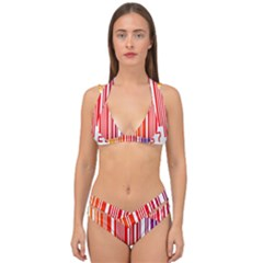 Colorful Gradient Barcode Double Strap Halter Bikini Set