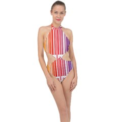 Colorful Gradient Barcode Halter Side Cut Swimsuit