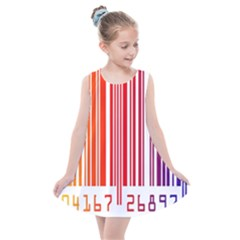 Colorful Gradient Barcode Kids  Summer Dress by Samandel