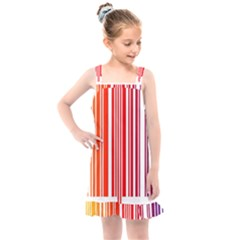Colorful Gradient Barcode Kids  Overall Dress