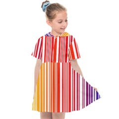 Colorful Gradient Barcode Kids  Sailor Dress