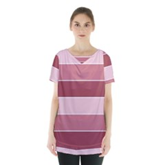 Striped Shapes Wide Stripes Horizontal Geometric Skirt Hem Sports Top