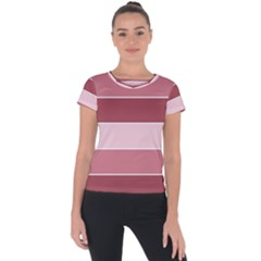 Striped Shapes Wide Stripes Horizontal Geometric Short Sleeve Sports Top