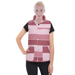 Striped Shapes Wide Stripes Horizontal Geometric Women s Button Up Vest