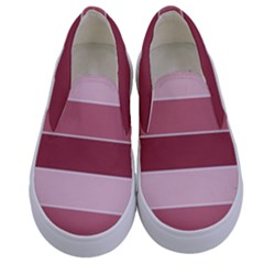 Striped Shapes Wide Stripes Horizontal Geometric Kids  Canvas Slip Ons