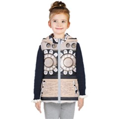 Vintage Payphone Kid s Hooded Puffer Vest