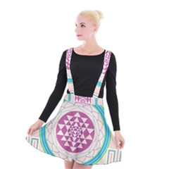 Mandala Design Arts Indian Suspender Skater Skirt