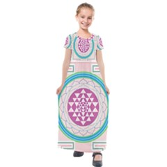 Mandala Design Arts Indian Kids  Short Sleeve Maxi Dress