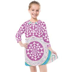 Mandala Design Arts Indian Kids  Quarter Sleeve Shirt Dress