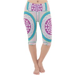 Mandala Design Arts Indian Lightweight Velour Cropped Yoga Leggings