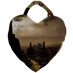 Borobudur Temple  Indonesia Giant Heart Shaped Tote by Samandel