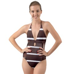 Minimalis Brown Door Halter Cut Out One Piece Swimsuit