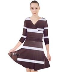 Minimalis Brown Door Quarter Sleeve Front Wrap Dress