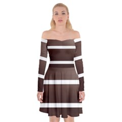 Minimalis Brown Door Off Shoulder Skater Dress