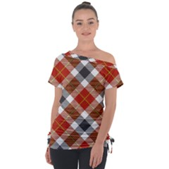 Smart Plaid Warm Colors Tie Up Tee by ImpressiveMoments