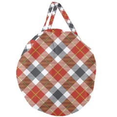 Smart Plaid Warm Colors Giant Round Zipper Tote by ImpressiveMoments