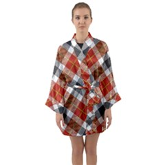 Smart Plaid Warm Colors Long Sleeve Kimono Robe by ImpressiveMoments