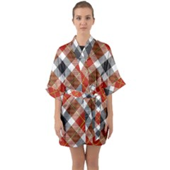 Smart Plaid Warm Colors Quarter Sleeve Kimono Robe by ImpressiveMoments