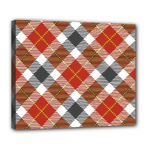 Smart Plaid Warm Colors Deluxe Canvas 24  X 20  (stretched) by ImpressiveMoments
