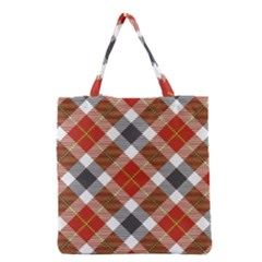 Smart Plaid Warm Colors Grocery Tote Bag