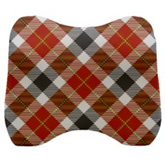 Smart Plaid Warm Colors Velour Head Support Cushion by ImpressiveMoments