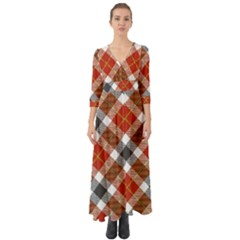 Smart Plaid Warm Colors Button Up Boho Maxi Dress by ImpressiveMoments
