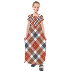 Smart Plaid Warm Colors Kids  Short Sleeve Maxi Dress by ImpressiveMoments