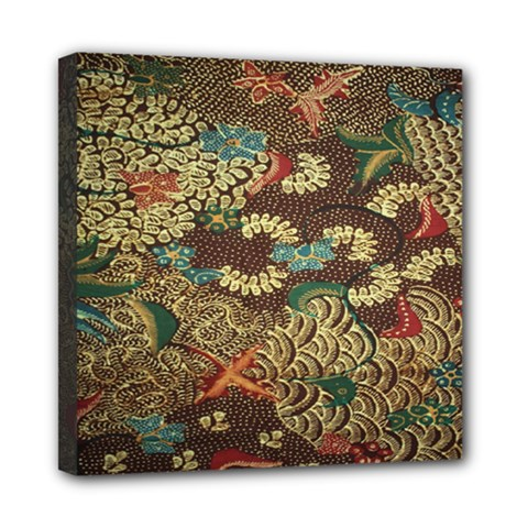 Colorful The Beautiful Of Art Indonesian Batik Pattern Mini Canvas 8  X 8  (stretched)
