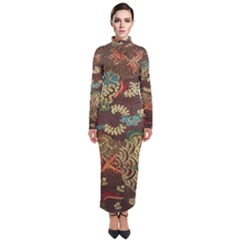 Colorful The Beautiful Of Art Indonesian Batik Pattern Turtleneck Maxi Dress