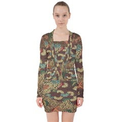 Colorful The Beautiful Of Art Indonesian Batik Pattern V Neck Bodycon Long Sleeve Dress