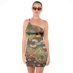 Colorful The Beautiful Of Art Indonesian Batik Pattern One Soulder Bodycon Dress