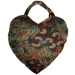 Colorful The Beautiful Of Art Indonesian Batik Pattern Giant Heart Shaped Tote