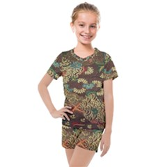 Colorful The Beautiful Of Art Indonesian Batik Pattern Kids  Mesh Tee And Shorts Set
