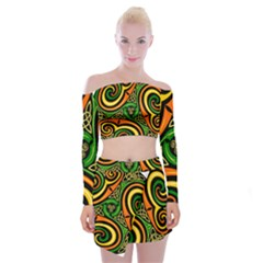 Celtic Celts Circle Color Colors Off Shoulder Top With Mini Skirt Set