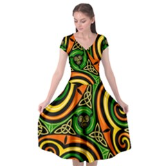 Celtic Celts Circle Color Colors Cap Sleeve Wrap Front Dress