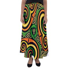 Celtic Celts Circle Color Colors Flared Maxi Skirt