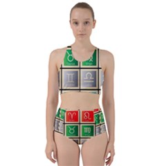 Set Of The Twelve Signs Of The Zodiac Astrology Birth Symbols Racer Back Bikini Set