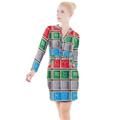 Set Of The Twelve Signs Of The Zodiac Astrology Birth Symbols Button Long Sleeve Dress