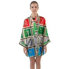 Set Of The Twelve Signs Of The Zodiac Astrology Birth Symbols Long Sleeve Kimono Robe