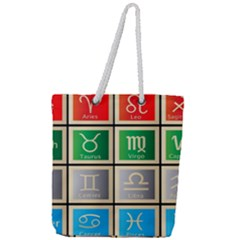 Set Of The Twelve Signs Of The Zodiac Astrology Birth Symbols Full Print Rope Handle Tote (large)