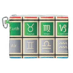 Set Of The Twelve Signs Of The Zodiac Astrology Birth Symbols Canvas Cosmetic Bag (xl)