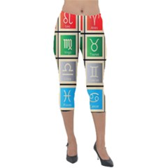 Set Of The Twelve Signs Of The Zodiac Astrology Birth Symbols Lightweight Velour Capri Leggings