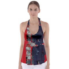 Red London Phone Boxes Babydoll Tankini Top
