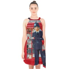 Red London Phone Boxes Halter Collar Waist Tie Chiffon Dress