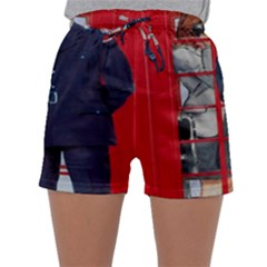 Red London Phone Boxes Sleepwear Shorts