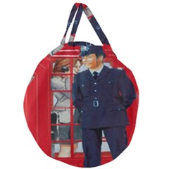 Red London Phone Boxes Giant Round Zipper Tote