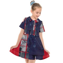 Red London Phone Boxes Kids  Short Sleeve Shirt Dress